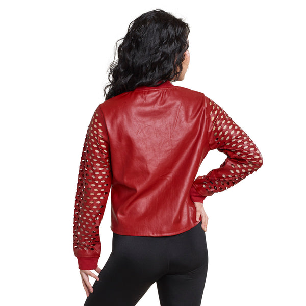 312 - N201  Lazer Cut Pleather Jacket