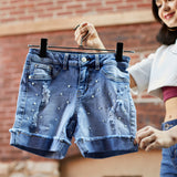 305 - N209  Pearl Studded Stretch Jean Short