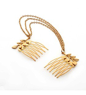 P028 - W1636 NO SIZE GOLD GD LEAF HAIR CLIP