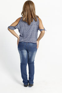 Blue cold shoulder top - Size 14