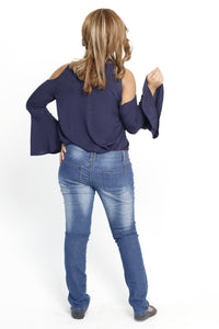 Cold shoulder top - Long sleeve flared - Size 34