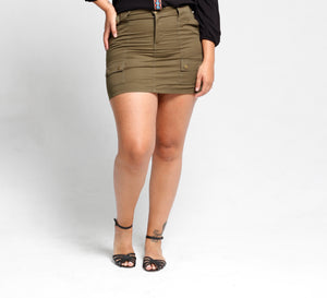 Khaki mini skirt - Size 12