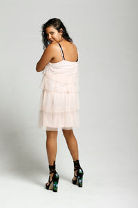 Frilled Net Slip Dress - Size 12
