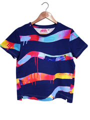 Boxy-Tee - Neon Stripe in Navy - Lordy Dordie Art
