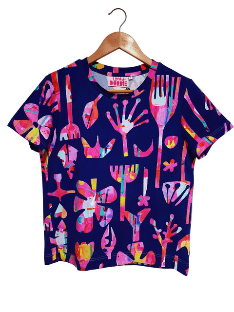 Boxy-Tee - Neon Natives in Navy - lordydordie