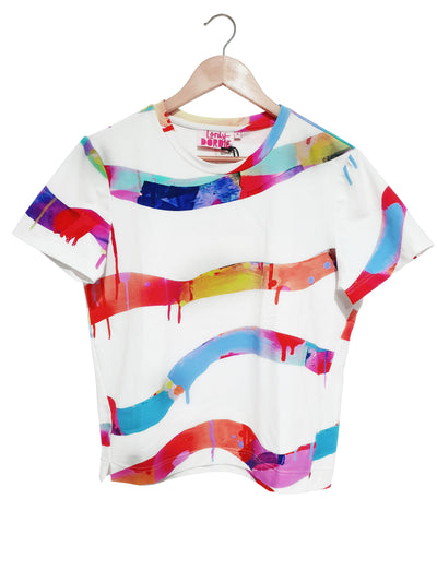 Boxy-Tee - Neon Stripe in White - Lordy Dordie Art
