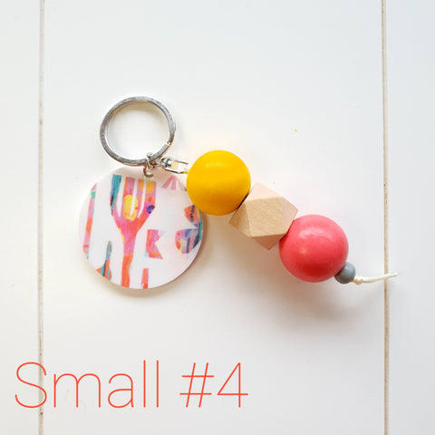 SMALL Tassel Wooden Keyring #4 - Lordy Dordie Art