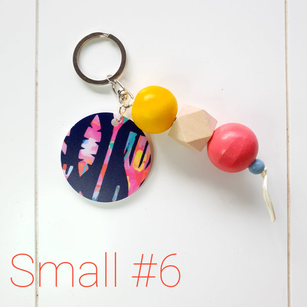 SMALL Tassel Wooden Keyring #6 - Lordy Dordie Art