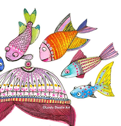 """Little Fishes"" - Giclee Art Print - Lordy Dordie Art"