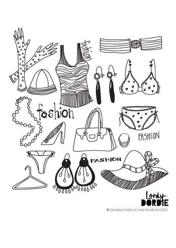 Fashion Collage - FREE A4 Colouring In Sheet PDF - lordydordie