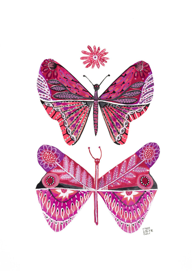 """Pink Wings"" - Giclee Art Print - lordydordie"