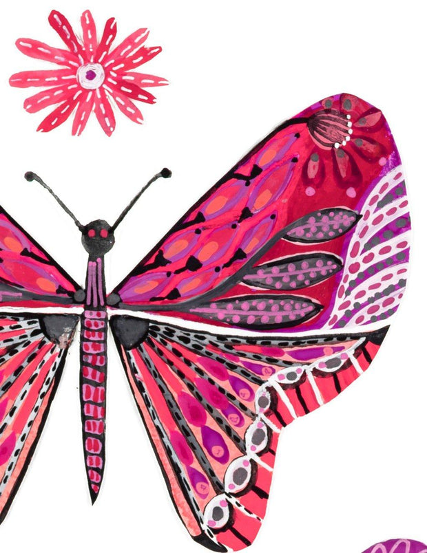 """Pink Wings"" - Giclee Art Print - Lordy Dordie Art"