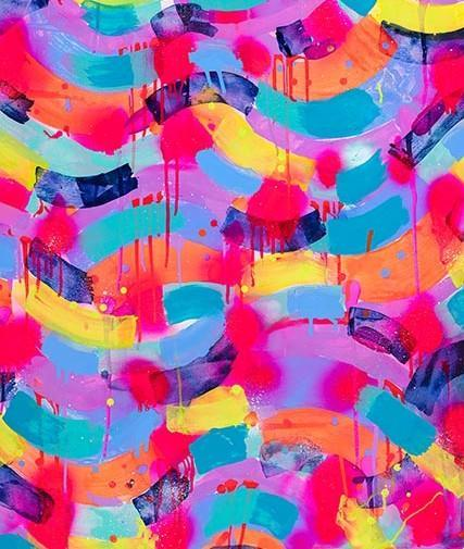 Neon Stripes - Giclee Art Print - lordydordie