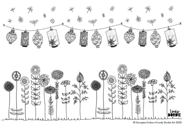 Lanterns & Wildflowers - FREE A4 Colouring In Sheet PDF - Lordy Dordie Art