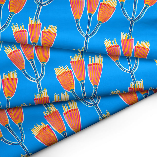Gumnut Blossom (Blue background) FABRIC - lordydordie