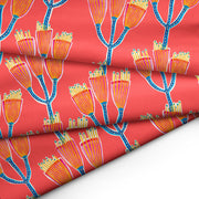 Gumnut Blossom (Coral background) FABRIC - Lordy Dordie Art
