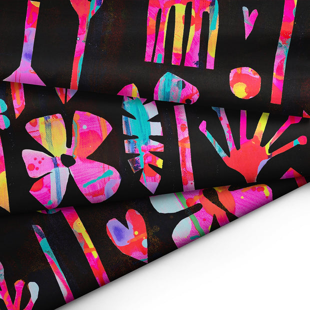 Neon Natives (Black Background) FABRIC - Lordy Dordie Art