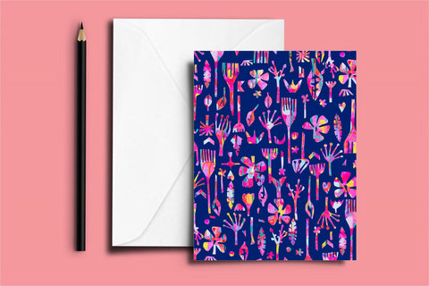 Neon Natives (Navy) - Note Card (11 x 14 cm) - lordydordie