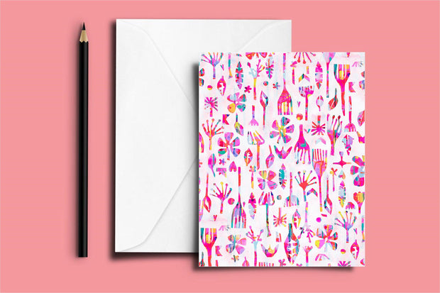 Neon Natives (White) - Note Card (11 x 14 cm) - lordydordie
