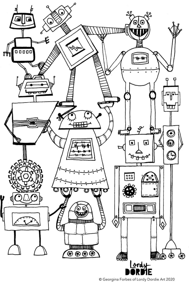 Nuts & Bolts - FREE A4 Colouring In Sheet PDF - Lordy Dordie Art
