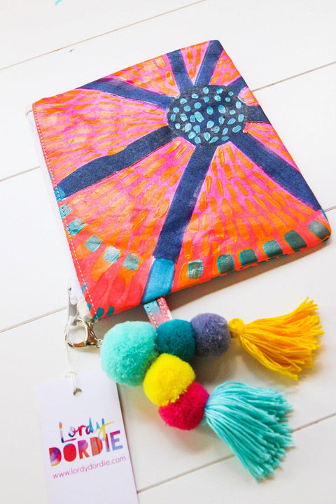 Large SUNSHINE FLOWERS Art Clutch - #3 of 10 - lordydordie