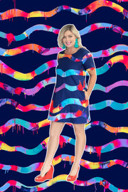 Neon Lights Stripe in Navy FABRIC - lordydordie