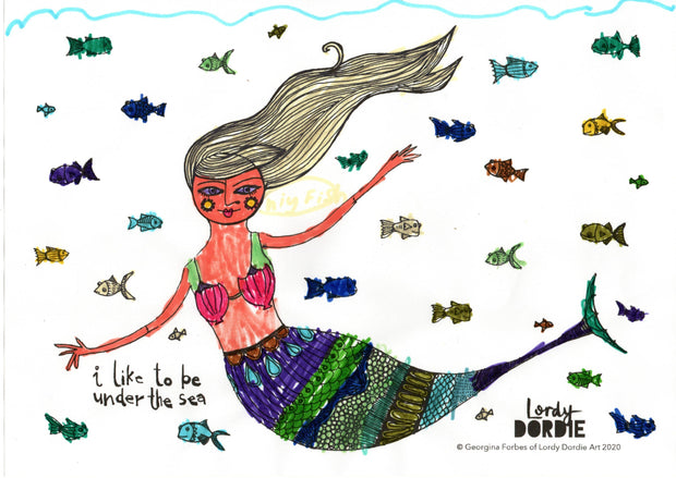 Let's be Mermaids - FREE A4 Colouring In Sheet PDF - Lordy Dordie Art