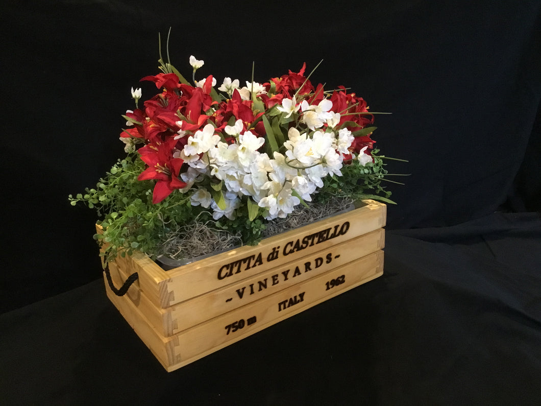 Wooden Crate - Wine Theme Flower Planter