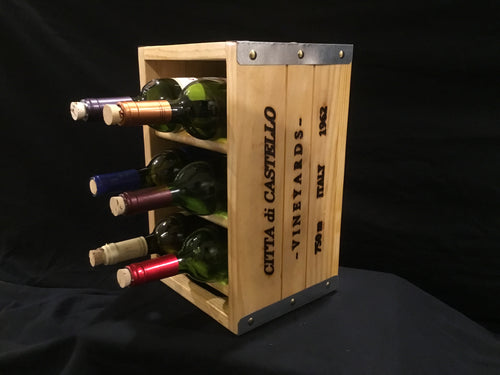 Deco Wooden Wine Rack - 6 Bottle