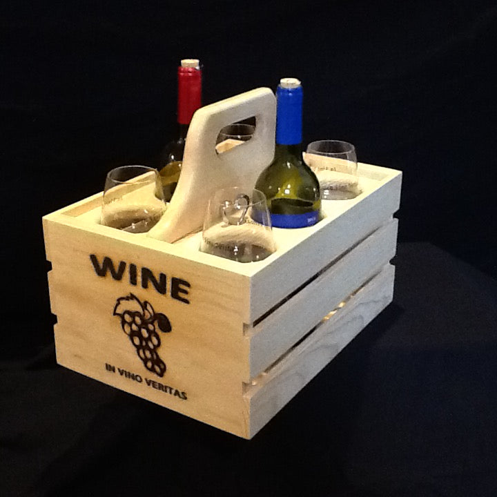 Wooden Party Crate - Wine Glass & Bottle Holder