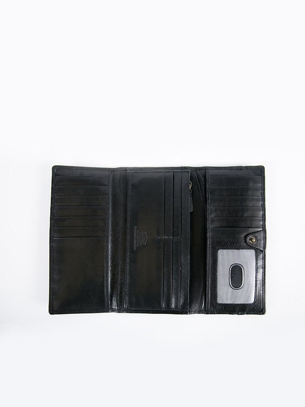 Busby Leather Tuscany Trifold Clutch Purse | Black
