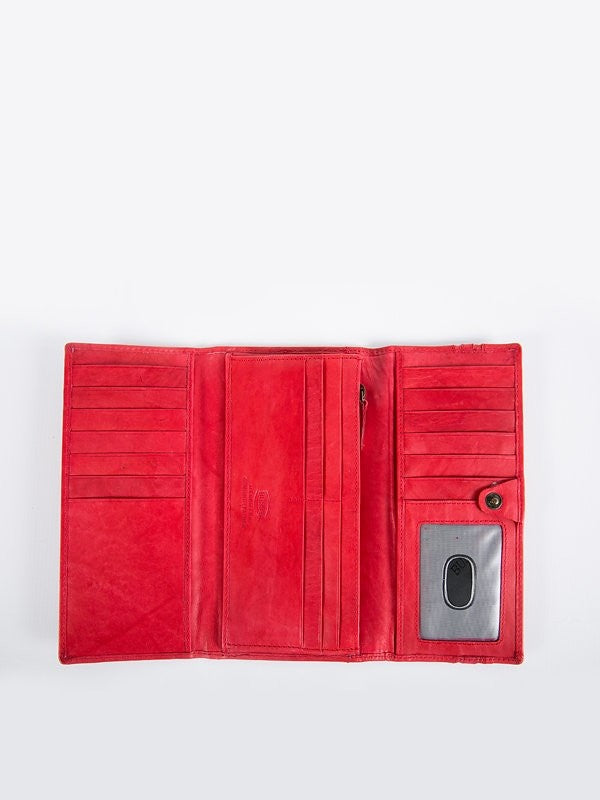 Busby Leather Tuscany Trifold Clutch Purse | Red