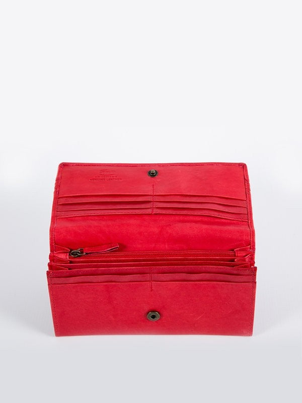 Busby Leather Tuscany Clutch Purse | Red
