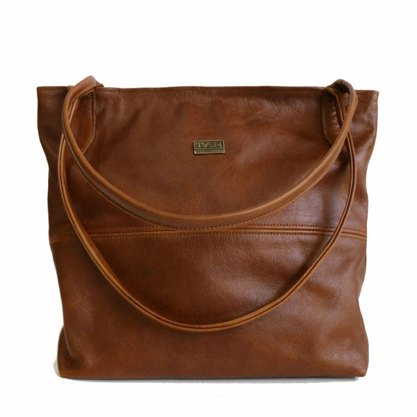 Tan Leather Goods - Ashley Leather Handbag | Pecan - KaryKase