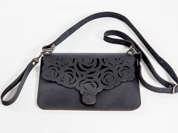 Yuppie Gift Baskets Flower Design Leather Clutch Handbag | Black - KaryKase