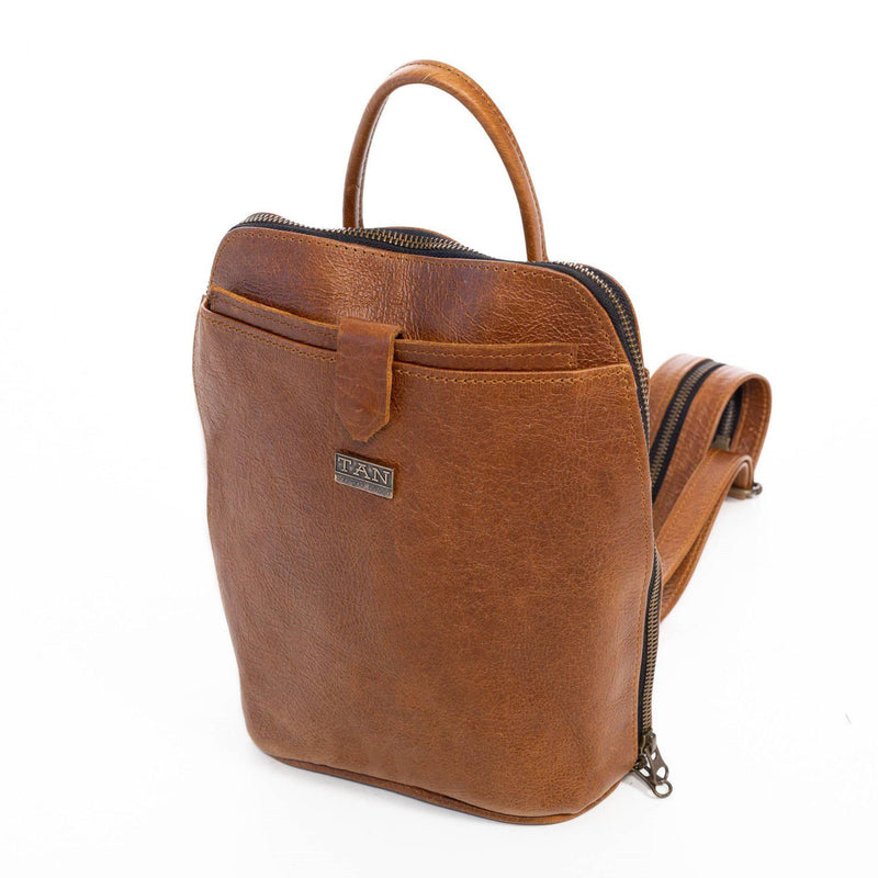 Tan Leather Goods - Olivia Leather Backpack | Pecan - KaryKase
