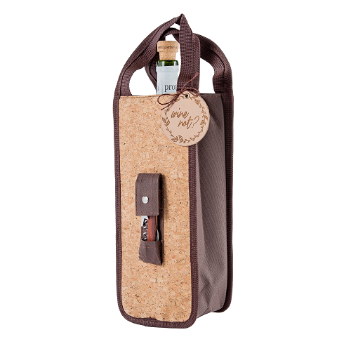 Yuppie Gift Baskets Cork Wine Gift Bag | Brown - KaryKase