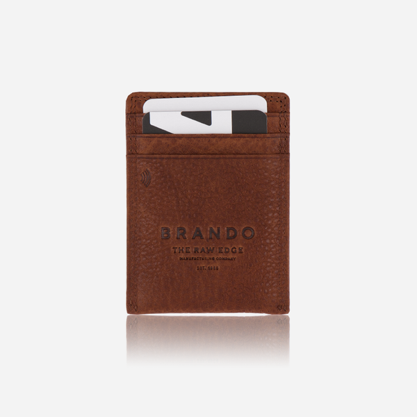 Brando Vintage Slim RFID Card & Note Clip Leather Wallet | Tan