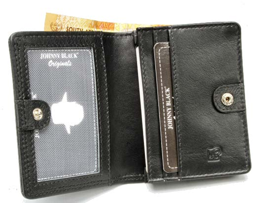 Johnny Black Chicago Mini Compact Leather Wallet - RFID | Black - KaryKase
