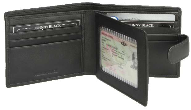 Johnny Black Buttersoft 8CC Tab Closure Leather Wallet | Black - KaryKase