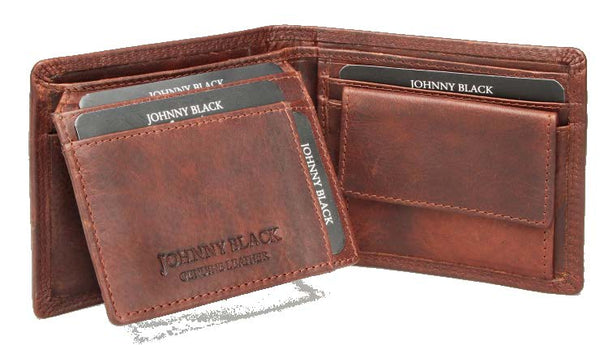 Johnny Black VT Antique 8CC Bi-fold Leather Wallet - RFID | Brown - KaryKase