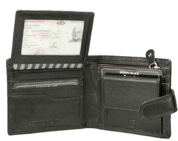 Johnny Black Chicago 9CC Tab Closure Leather Wallet - RFID | Black - KaryKase
