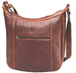 Monroe Ladies VT Antique Leather Shoulder Bag | Brown - KaryKase
