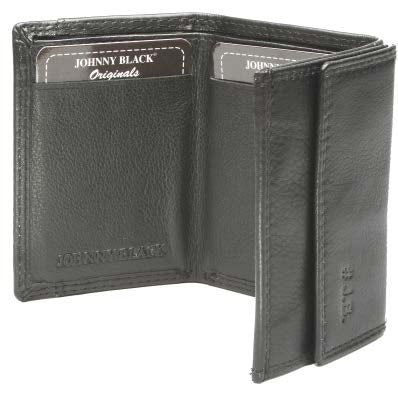 Johnny Black Chicago Mini Compact Tri-fold Leather Wallet - RFID | Black - KaryKase
