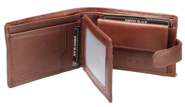 Johnny Black Bavaria 9CC Tab Closure Leather Wallet - RFID | Brown - KaryKase