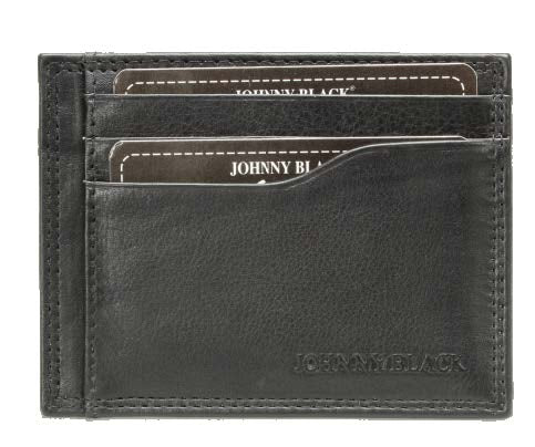 Johnny Black SF Nappa Leather Card Holder | Black - KaryKase
