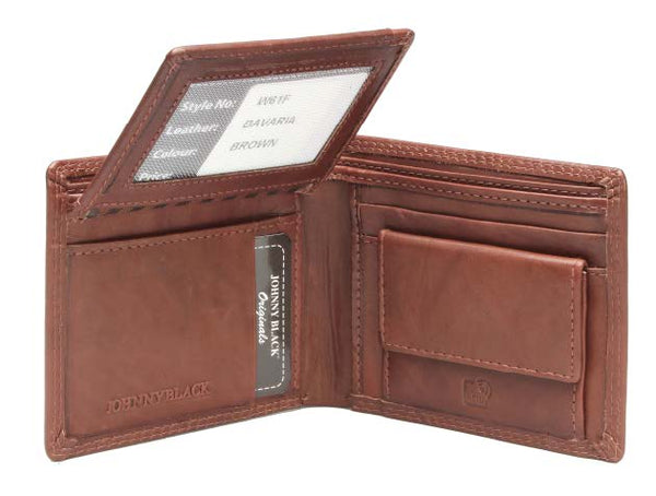 Johnny Black Bavaria 8CC Flap Leather Wallet - RFID | Brown - KaryKase
