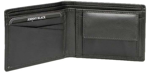 Johnny Black Chicago Mini Compact 3CC Leather Wallet - RFID | Black - KaryKase