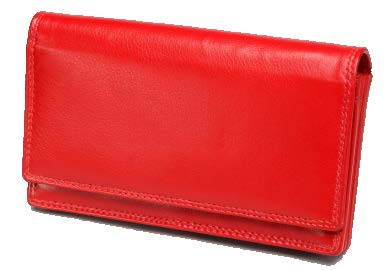 Monroe SF Nappa Leather Ladies Clutch Purse | Red - KaryKase