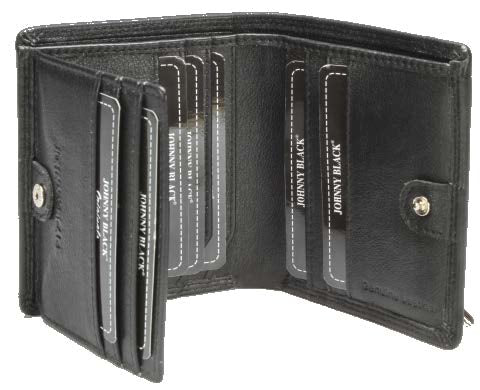 Johnny Black Chicago 12CC Stud Closure Leather Wallet - RFID | Black - KaryKase